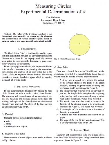 Screenshot for Measuring Circles LaTeX Lab Report