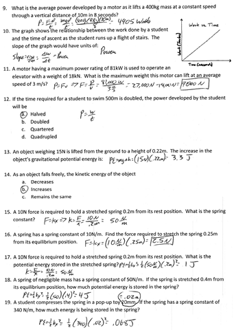 Printables Energy Work And Power Worksheet Answer Key power physics problems energy work and worksheet potential answers wep ged conservation of energy