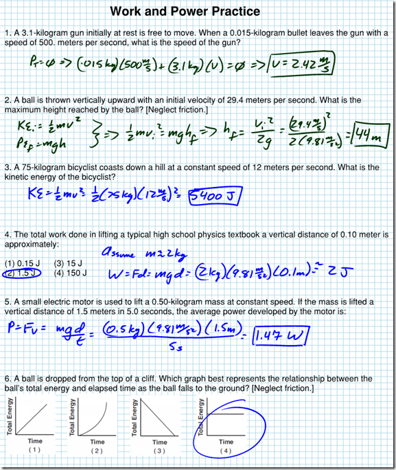 Work and Power Practice WS - Solutions - Regents Physics
