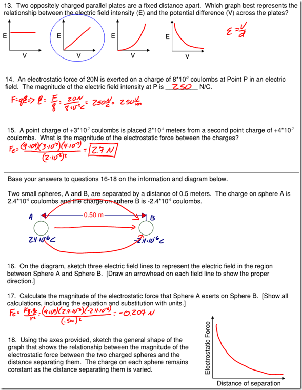 Coulombs Law Archives Page 3 of 3 Regents Physics – Electric Field Worksheet