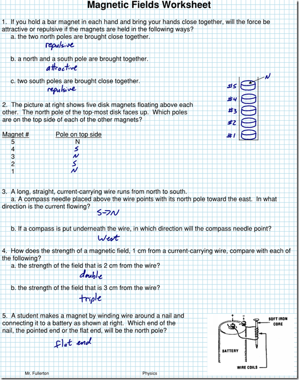 Magnetism Archives Page 2 of 3 Regents Physics – Electricity and Magnetism Worksheets