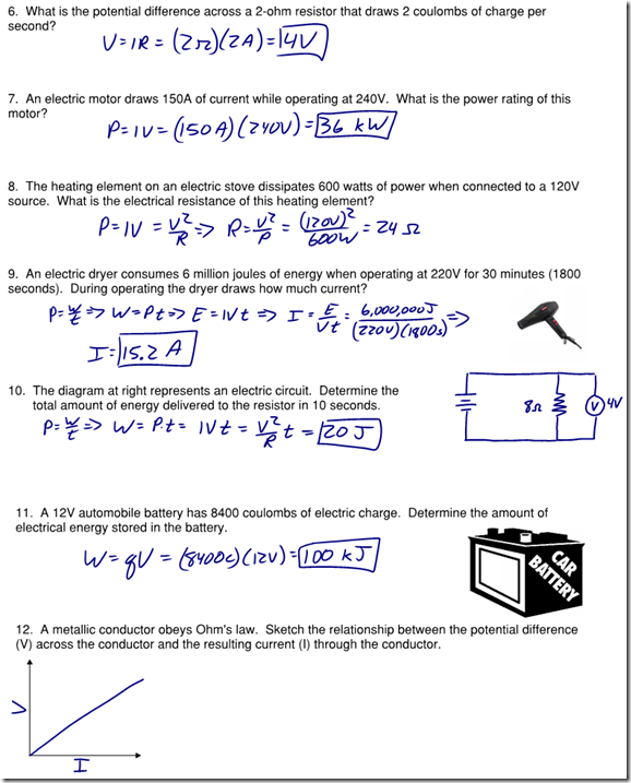 Worksheets Ohms Law Worksheet charge archives page 2 of regents physics electricity magnetism tagged coulombs law current refresher energy newtons universal gravitation ohms law