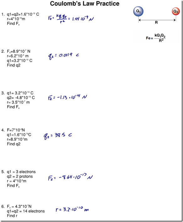 Worksheets Electrostatics Worksheet electrostatics worksheet answers worksheets tutsstar thousands coulombs law archives page 3 of regents physics posted in electricity magnetism