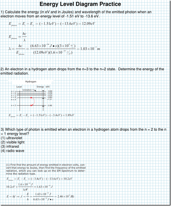 Energy Level Diagram Practice Solutions Regents Physics