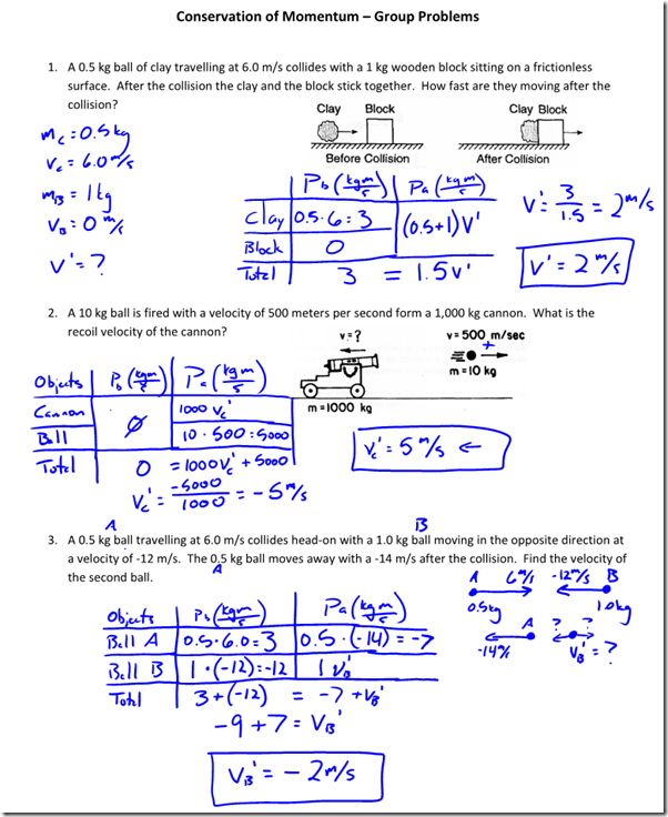 Conservation of Momentum Practice - Regents Physics