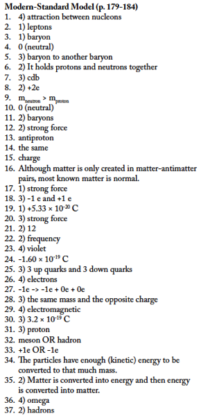 Standard Model Worksheet Answers - Regents Physics