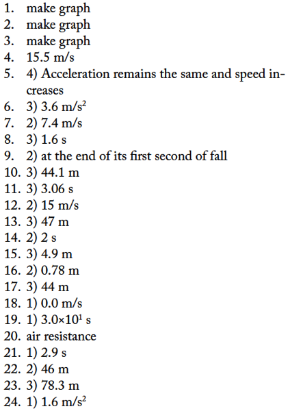 Free Fall Ws Answers Regents Physics