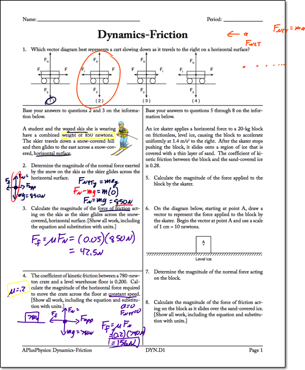 Dynamics Friction Worksheet Answers Worksheet List