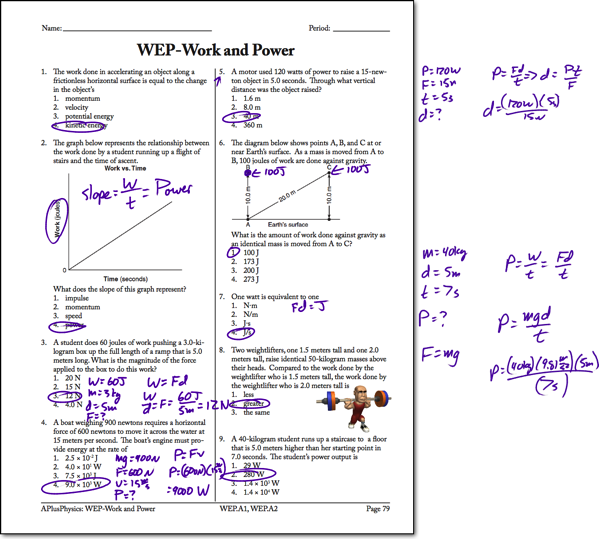power Archives Page 2 of 4 Regents Physics – Work Energy and Power Worksheet Answers